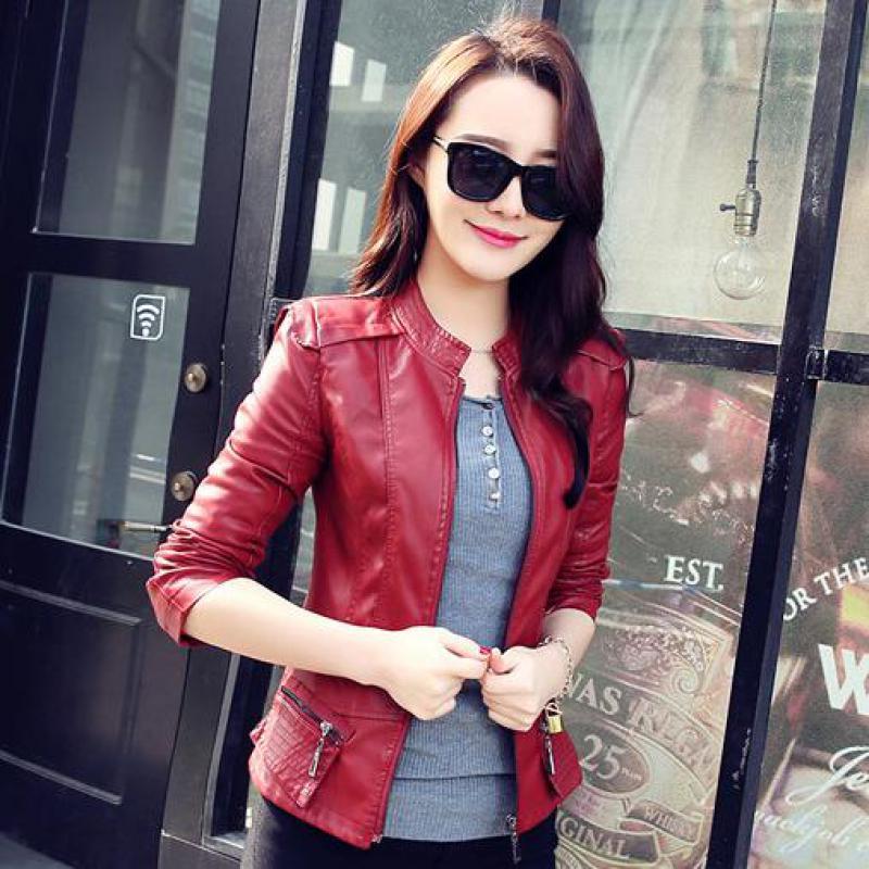 Autumn PU   leather   jacket women 2018 fashion Korean stitching short jacket artificial   leather   blouse winter coat Jacket Female