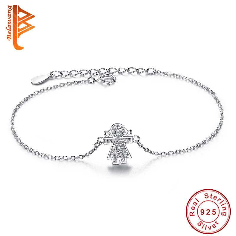 European Fashion Authentic 925 Sterling Silver Lovely Girl Crystal Link Chain  Bracelets for Women Wedding Bracelet Jewelry Gift