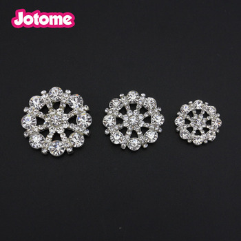 Small Clear Flat Back Rhinestone Buttons Metal Crystal Glass Button