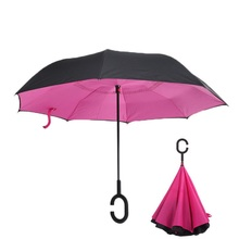 Rose Rolling Over Reverse Umbrella  Double Layer Inverted Self Stand Rain Protection Long Hands Folding For Car Fishing 15pcs windproof reverse folding double layer inverted chuva umbrella self stand inside out rain protection c hook hands for car