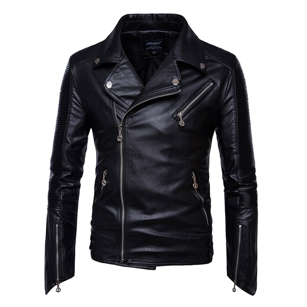 Herobiker Motorcycle Jackets Men Vintage Retro PU Leather Jacket Punk Classical Windproof Coat Biker Faux Leather Moto Jacket zip cuff faux leather moto jacket