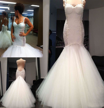 Backless Sheer Wedding Dresses Mermaid Spaghetti Straps Applique Lace Beads Ruffle Organza Bridal Gowns yk1A226