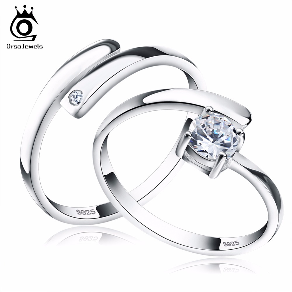 ORSA JEWELS 925 Silver Ring Set with CZ s