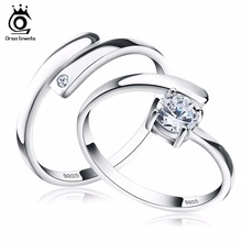 ORSA JEWELS Real 925 Sterling Silver Enternity Crystal Ring Units for Ladies/Males Romantic CZ Diamond Jewellery SR22