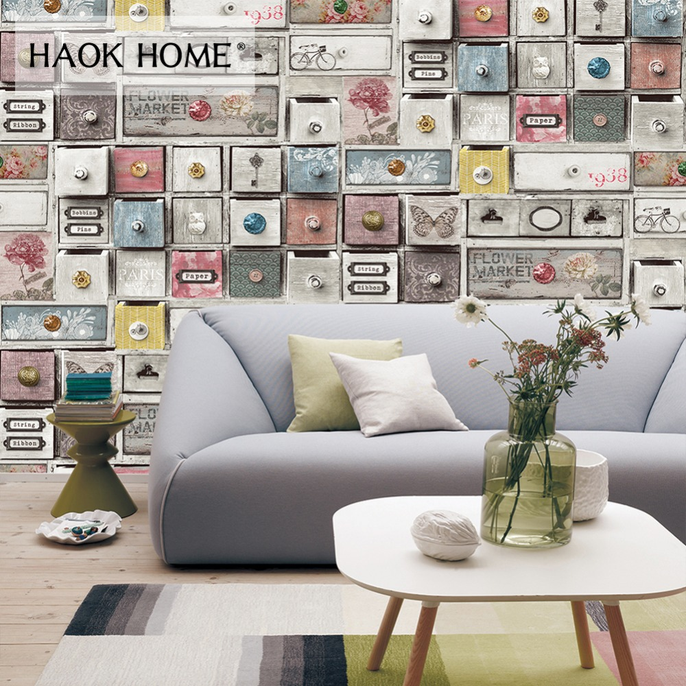 Haokhome Vintage Wood Locker Vinyl PVC Photo Wallpaper Blue/Grey For Wall 3d Murals Sticker Bedroom Living Room Home Decoration stylish tree pattern photo wall sticker for livingroom bedroom decoration
