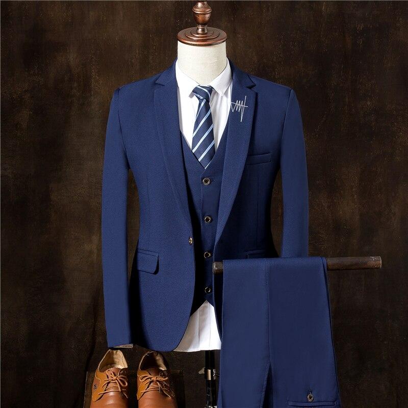 Reine Farbe Männer Lange ärmeln Blazer Mit Anzug Westen Und Anzug Hose S-3xl Größe Elegante Form Herrenbekleidung & Zubehör