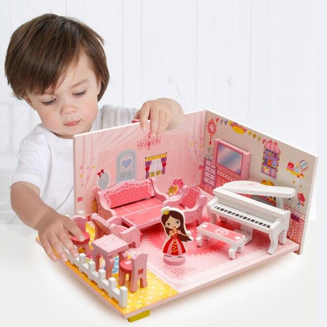 Wooden toys for children Girl Play house 3D music living room toys ...