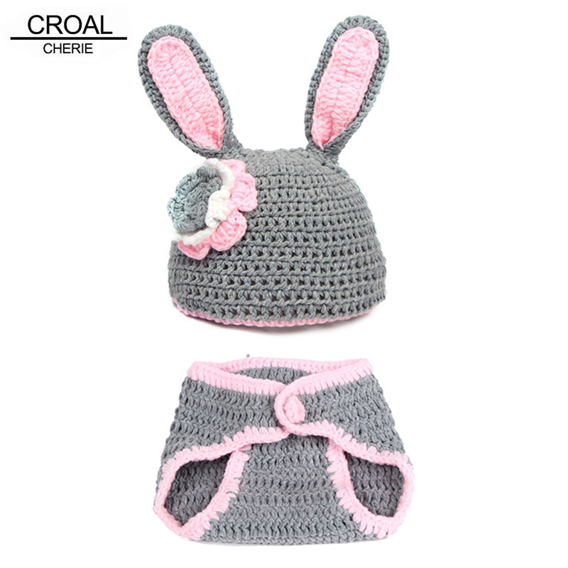 Kawaii Rabbit Baby Cap Hat Newborn Photography Props Knitted Ball Pants Bone Beanie Toddler Handmade Animals Baby Photo Props