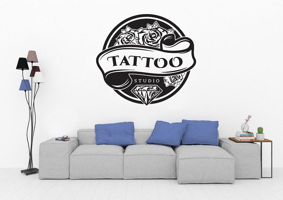 Тату Магазин Салон логотип стенографическая наклейка студия виниловые наклейки для нанесения татуировок салон Окно Наклейка для декора стен 2WS7-in Настенные наклейки from Дом и животные