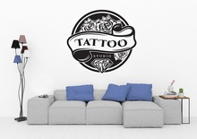 Tattoo salon vinyl wall sticker diamond rose logo tattoo studio poster design door and window decoration wall art sticker 2WS7