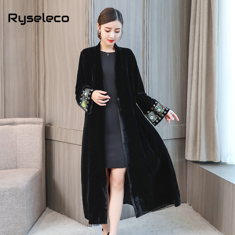 0575b438c4797 US $32.79 49% OFF|Women Vintage X long Black Velour Trench Coat Ladies  Elegant Embroidery Long Sleeve Velvet Casual Open Stitch Cardigans  Overcoat-in ...