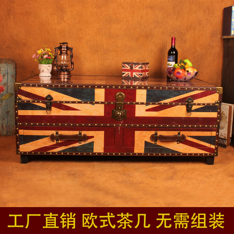 European style retro leather big box coffee table display for Big box hotel bomonti