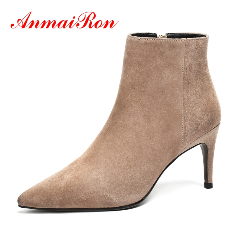 AnmaiRon  Ankle Boots for Women  zapatos de mujer  bella hadid zipper  Ankle  winter boots Big Size 34-43 ZYL1354AnmaiRon  Ankle Boots for Women  zapatos de mujer  bella hadid zipper  Ankle  winter boots Big Size 34-43 ZYL1354