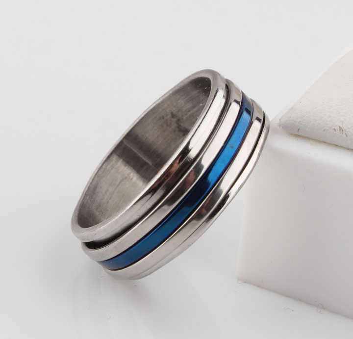 Punk Jewelry Titanium Stainless Steel Three Color Blue Sliver Rotation Three Circle Women Men Rings Wedding Engagement Rings