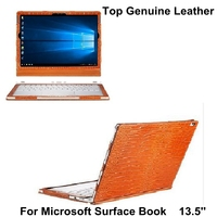 Top Genuine Leather Waterproof Laptop Case for Microsoft Surface Book 13.5 inch Tablet Cover Protective Skin Detachable + gift