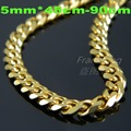 Gold Plated Burnish Flat Chain Necklace 316L Stainless Steel Women's & Man's Necklace Jewelry 5/7mm*45cm 50cm 60cm 70cm 80cm