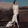 Amazing Lace Wedding Dresses Sexy Two Pieces Half sleeve Mermaid bohemian Bridal Dresses Boat Neck elegant Gelinlik Z1001