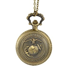 2017 Retro Bronze Steampunk United States Marine Corps Theme Pocket Watches For Men Women Military Man Christmas Clock gift
