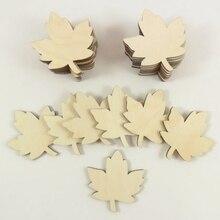 50 pcs Wood Leaves Maple Leaf Blanks Laser Cut Shapes