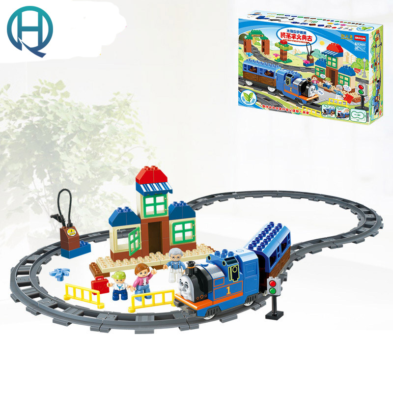 HuiMei Classic Train Big DIY Model Building Blocks Bricks Baby Early Educational Learning Train Birthday Gift Toys for Kids huimei basic edition diy model big building blocks bricks baby early educational learning birthday gift toys for children kids