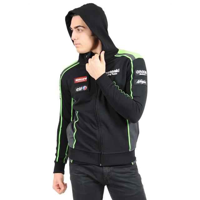 976aa9990 mens motorcycle kawasaki hoodie racing moto riding hoody clothing jacket  men jackets cross Zip jersey sweatshirts Windproof coat