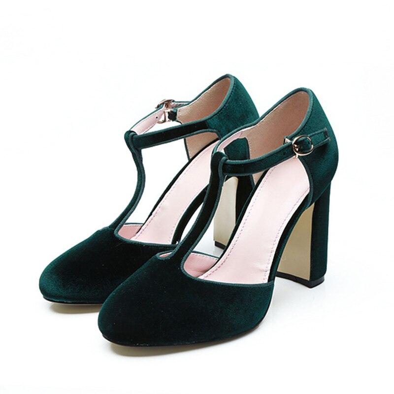 Bout Chaussures Janes Élégante Choo Rond Robe Soirée Chunky Mary Foncé Dame T Eunice Talons Boucle De Sangle Pompes Vert Velours Liée 4qwqO0g