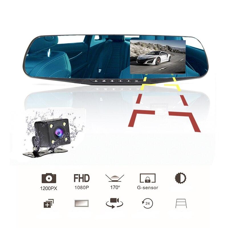 4 дюймов Автомобильное зеркало заднего вида видео монитор камера заднего вида встроенный динамик Цикл Запись HD двойной объектив автомобиля...