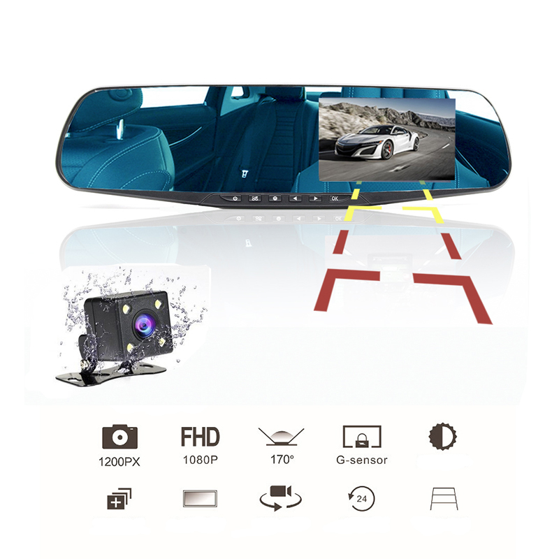 4 Inch Car Rearview Mirror Video Monitor Rear View Camera Built-In Speaker Cycle Recording HD Dual Lens Car Cam
