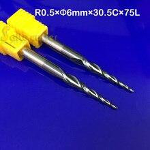 2 stks/partij R0.5 * D6 * 30.5 * 75L * 2F HRC55 massief hardmetalen NANO Gecoat Bal Neus Taper Frees cone type cnc frees tool