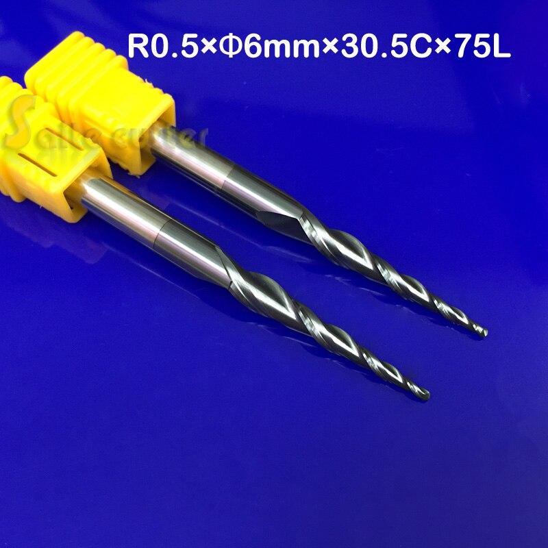 2 unids/lote R0.5 * D6 * 30,5 * 75L * 2F HRC55 de carburo de tungsteno sólido NANO de bola con la nariz cono final molino cono cnc tipo de herramienta de corte