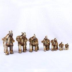 Gold Buddha Glück Elefanten Figurine Kunst Skulptur Tier Statuen Harz Handwerk Hause Dekoration Zubehör 7 teile/satz R534