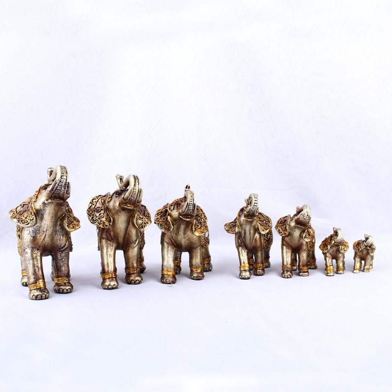 Gold Buddha Lucky Elephant Figurine Art Sculpture Animal Statues Resin Crafts Home Decoration Accessories 7Pcs/set R534