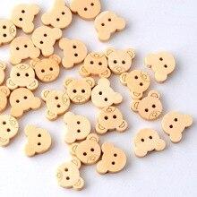 Розничная 20 шт. талисманы в виде плюшевого мишки 2 отверстия деревянные пуговицы для шитья детей 13x11 мм