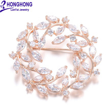 HONGHONG High Quality Cubic zirconia Flower Brooches For Women Wedding Dress Jewelry Accessories Free Shipping #WX8037
