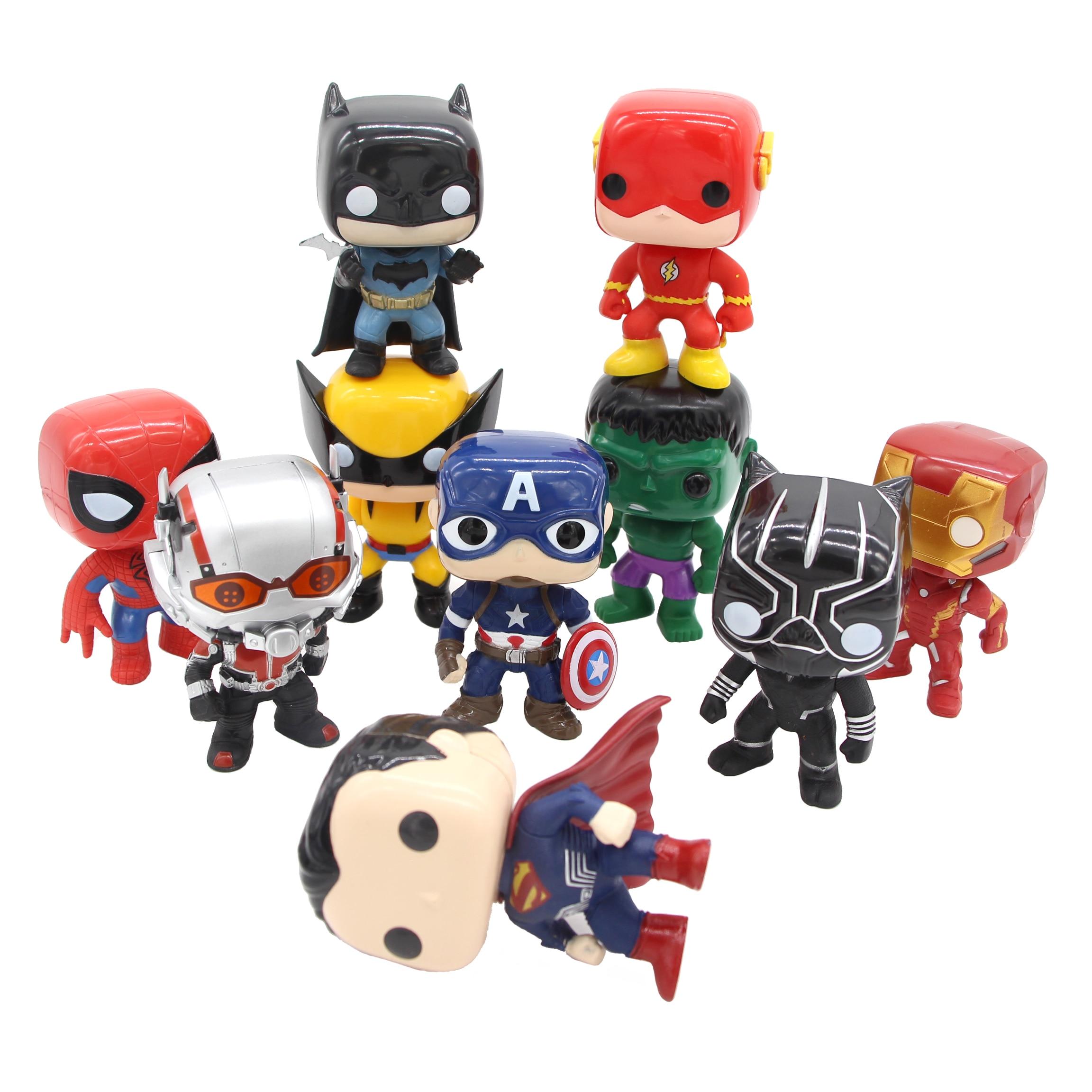 10st / set DC Justice League & Marvel Avengers Super Hero Tecken 10cm - Toy figuriner