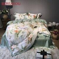 60S Tencel Bedding Sets Korean Plant 4pcs Queen Size Kids Bedding Comforter Bed Sheet Pink Single Duvet Bed Set Pdekbedovertrek