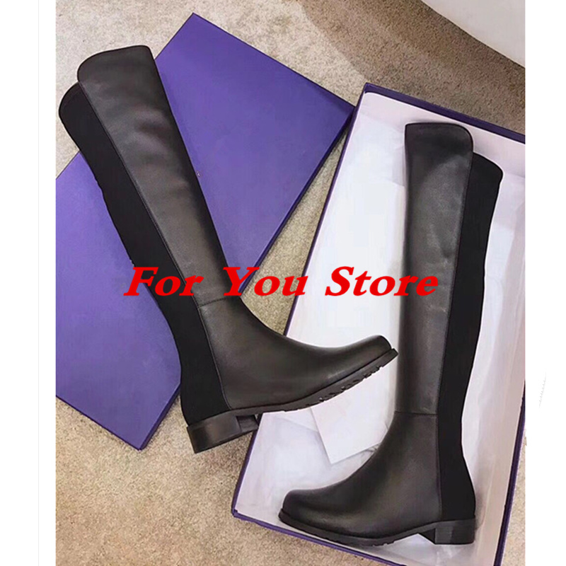 Luxury Brand Women Knee High Boots Round Toe Black Women Winter Shoes Long Booties Super Star Runway Fashion Shoes Bottes Femme miquinha round toe women boots mixed color short booties luxury brand women cool runway fashion star high heel boots buckle shoe