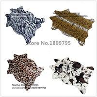 Zebra Inek Leopar Zürafa Tiger Baskılı Halı Inek Derisi sahte cilt deri Kaymaz Antiskid Mat 110X75 CM Hayvan baskı halı ev için