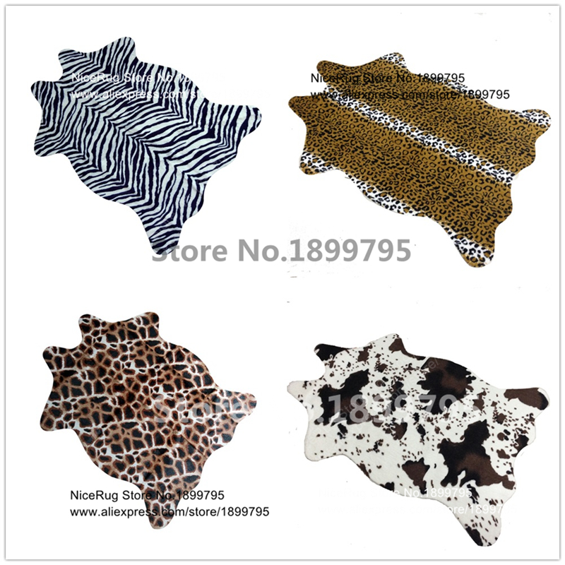 zebra cow leopard giraffe tiger printed rug cowhide faux skin leather nonslip antiskid mat 110x75cm animal