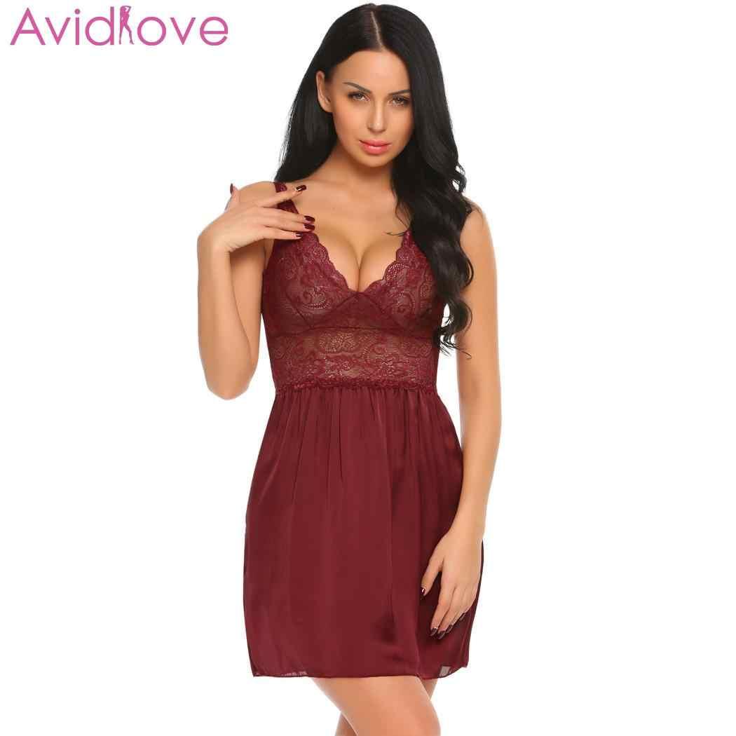 8850f99103f ... Avidlove Summer Sexy Nightgown Slim V-Neck Lingerie Babydoll Chemise  Lace Patchwork Sleepwear Night Dress ...