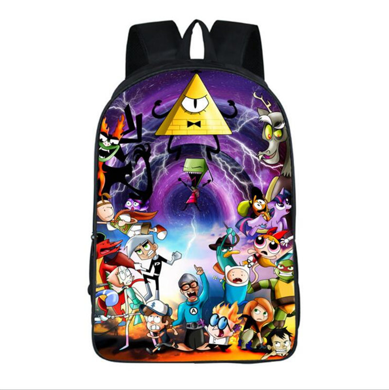 Cartoon Fashion Backpack For Boy Girls Children School Bags Anime Gravity Falls Mabel Bill Cipher Laptop Shoulder Bag Travel Bag children anime gravity falls backpack boys girls cartoon adventure time backpacks kids school bags bookbag daily backpacks mabel