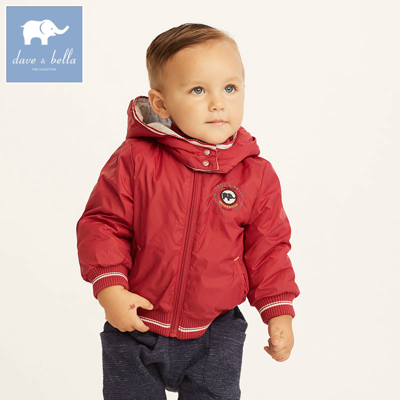 DB5639 dave bella winter baby boys fashion jacket children toddler coat kids solid wine hooded outerwear children winter coats jacket baby boys warm outerwear thickening outdoors kids snow proof coat parkas cotton padded clothes