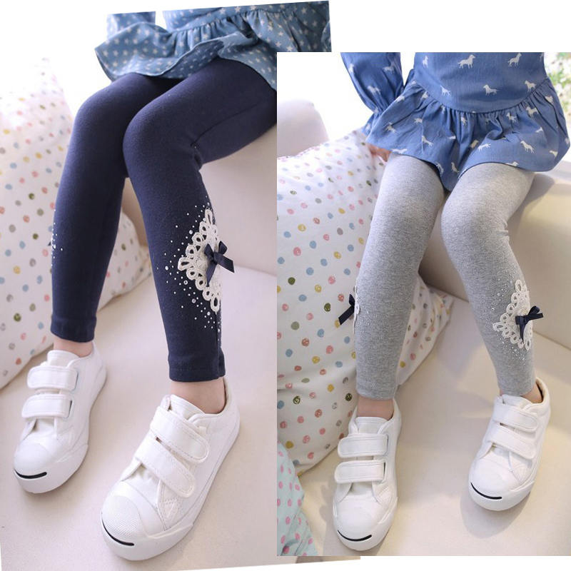 children's clothing fall and winter girls baby 2 - 7 years thick embroidery lace RHINESTONES bow-tie   pants     capris