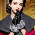 Long Real Leather Gloves For Women 2016 New Fur Glove Mittens Fashion Mitaines Guantes Winter Touch Fur Women Gloves