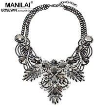 Mujeres de Lujo Declaración Gargantilla Collar de La Flor de La Vendimia Diseño Maxi Piedras Grandes Collares y Colgantes 2016 Joyería de Moda