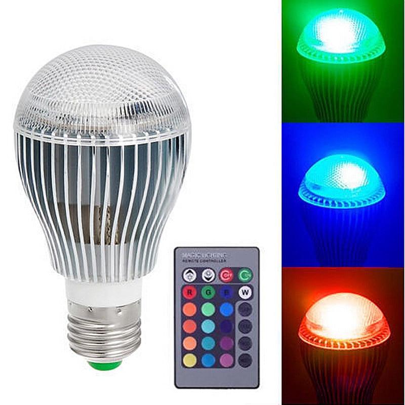 9W E27 RGB LED Spot Light Bulb Lamp Spotlight Color Changing Colorful Magic Lighting  with IR Remote Controller --M25 rgb led lamp spotlight mr16 4w led rgb light 8 24v led bulb high power home decoration lighting 16 colors ir remote controller