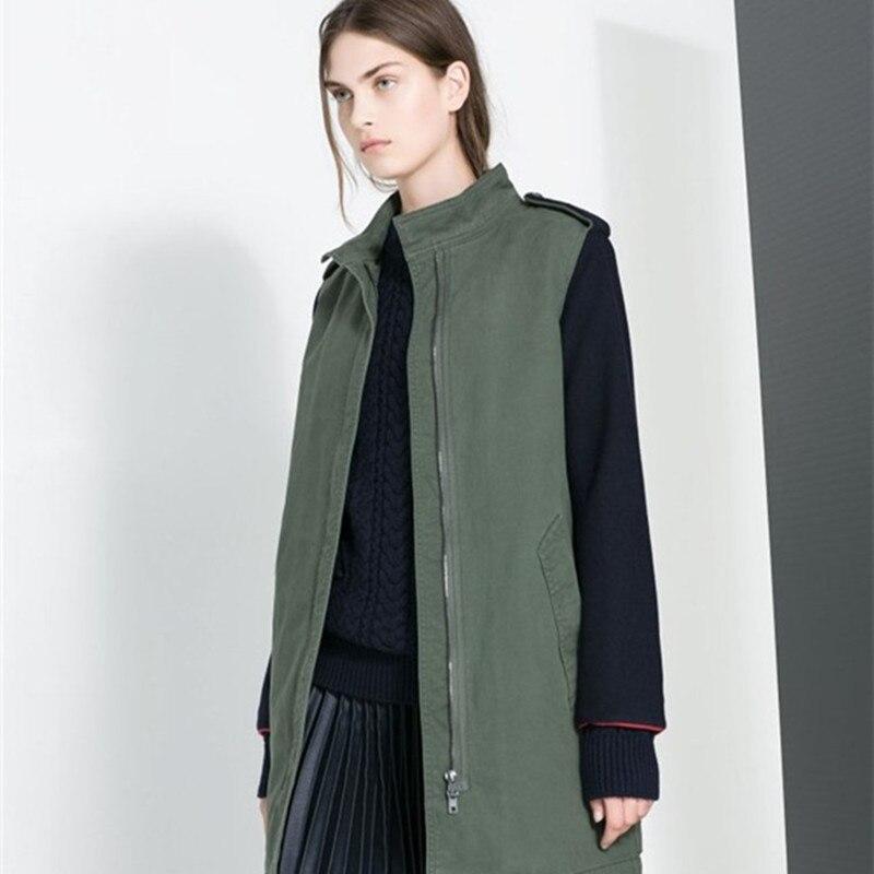 Avrupa ve Amerika Birleşik Devletleri kadın Kelepçe Splice Kollu Gevşek Pamuklu Bez Pamuk-Yastıklı Giysi Uzun Ceket