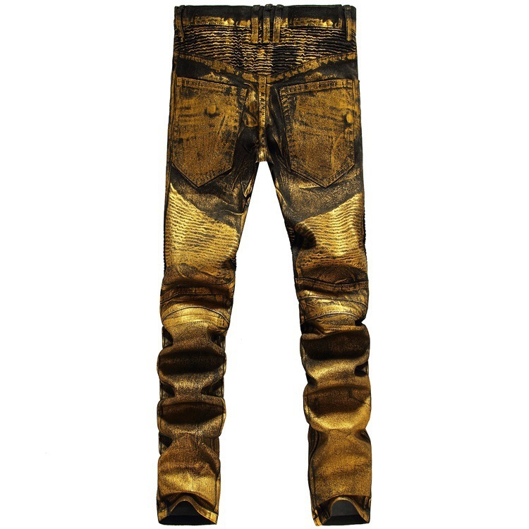 b5f0aaa1e2ad83 2016 New Men printing Nightclubs golden Jeans,Famous Brand Fashion Designer Denim  Jeans Men,plus size 28 38, casual jeans-in Jeans from Men's Clothing ...