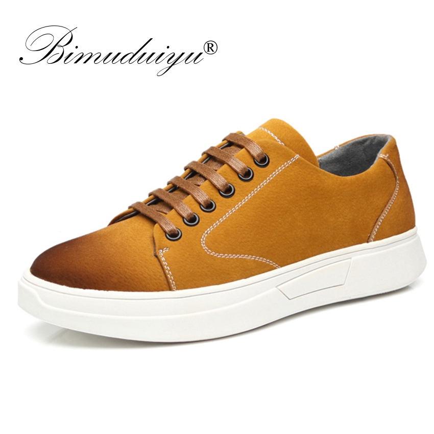 BIMUDUIYU 2019 New Mens Casual walking Shoes Pig Suede leather Sneakers Breathable Yellow Shoes Brand Flats