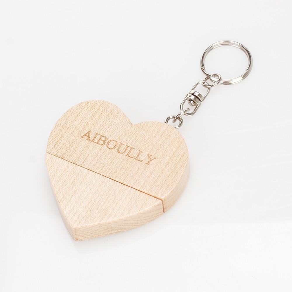 KRY (more than 10 customizable LOGO) wood heart Usb memory stick driver 4GB 8GB 16GB 32GB 64GB custom company logo wedding gift